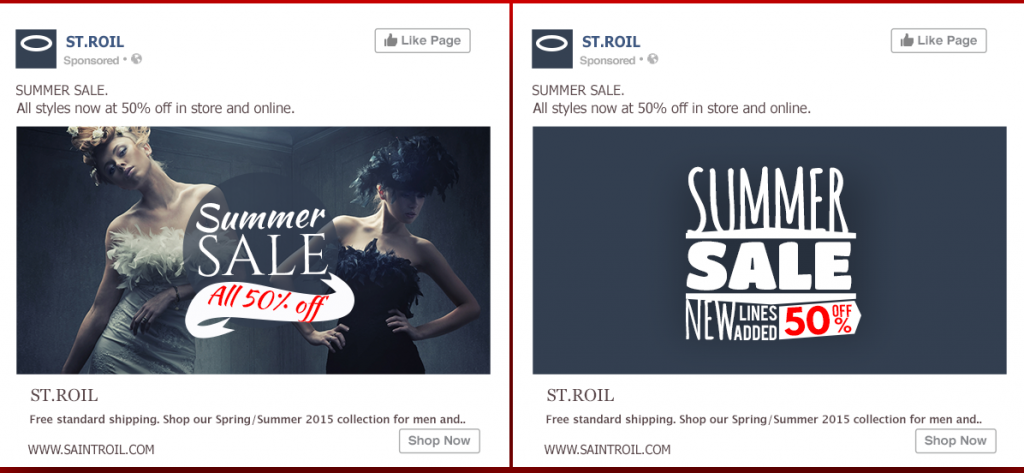 St Roil example of Facebook ad design Image - photo credit Jeff Bullas blog